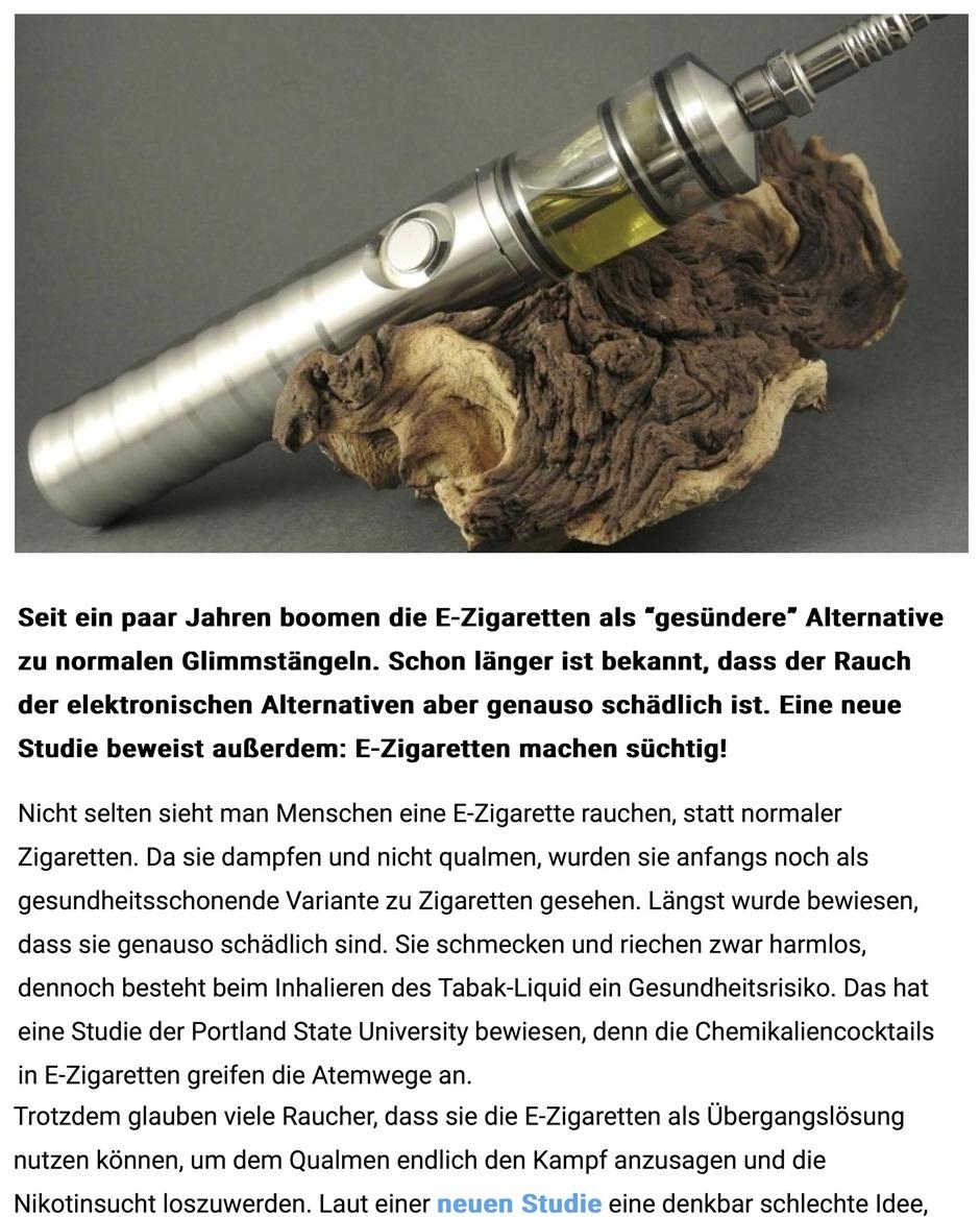 E Zigarette Raucherentwöhnung